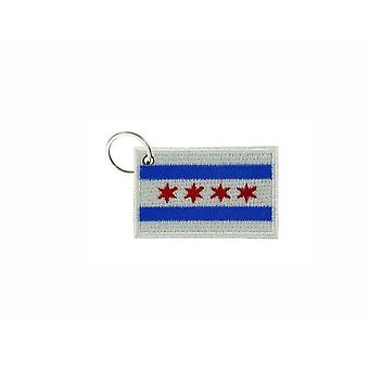 Cle Cles Key Brode Patch Ecusson Badge Flag Chicago USA Americain Us