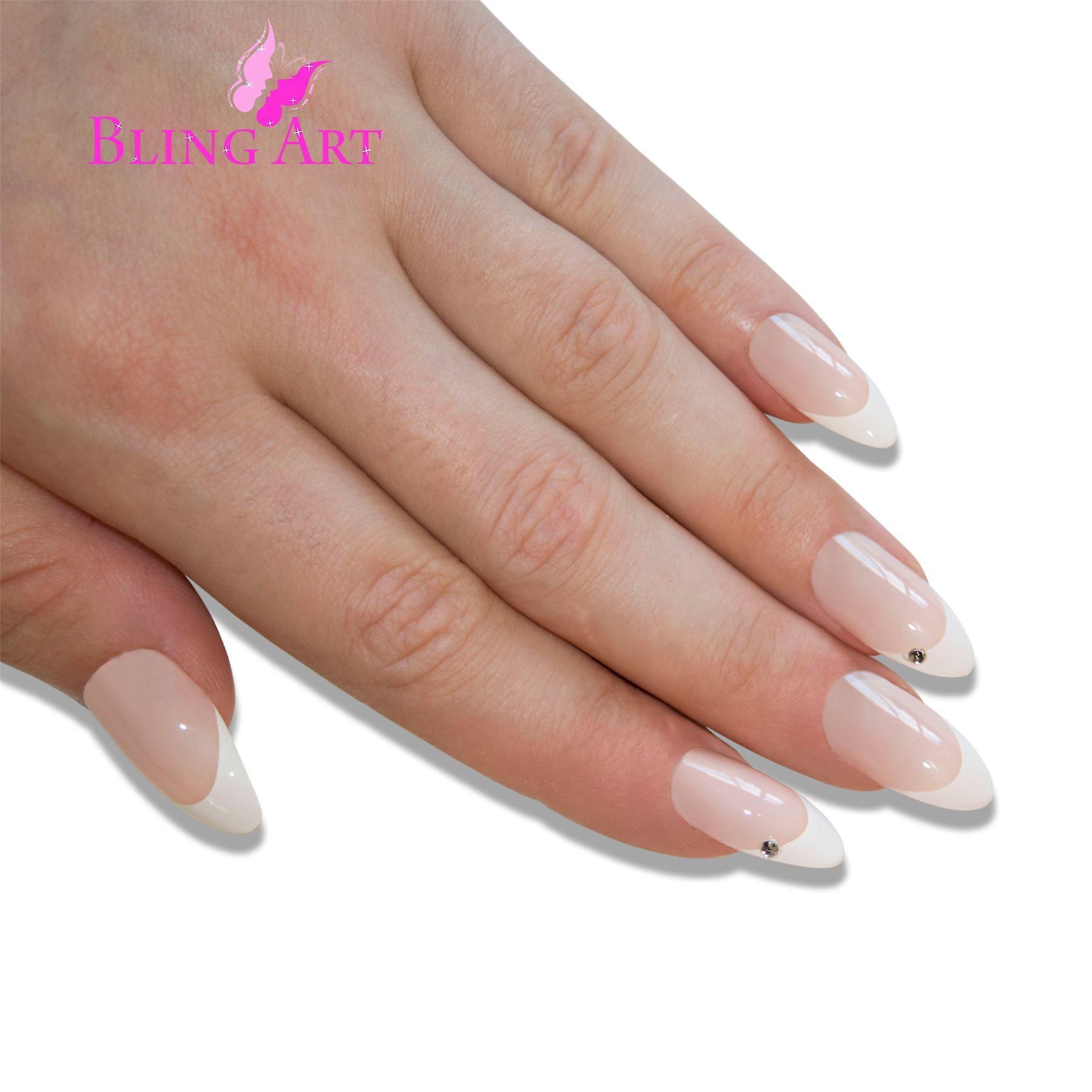 False nails bling art white crystal almond stiletto long fake acrylic tips glue