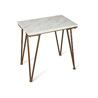 Penguin Home Marble Top Coffee Table with Heavy Gauge Steel Antique Gold Frame
