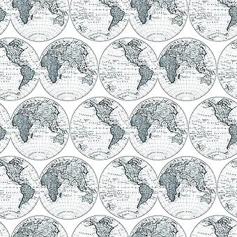 Galerie Deauville World Map Motif Wallpaper Geographic Black White Paste Wall