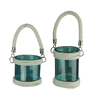 Blue Glass Coastal Candle Lanterns with White Rope Handle Set of 2