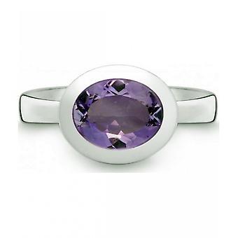 QUINN-ring-kvinner-sølv 925-gemstone-Amethyst-bredde 56-21402633