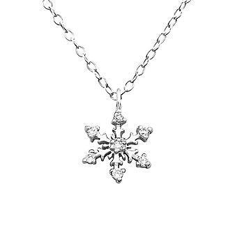 Collana sterlina argento fiocco di neve invernale con cubico zirconia