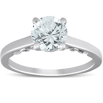 1 1/2 Ct Diamond & CZ Engagement Ring 14k White Gold