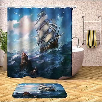 Stormfuldt Ocean sejler skib Shower gardin