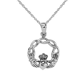Celtic Irish Claddagh Love Loyalty And Friendship Round Shape Small Necklace Pendant - Includes A 16