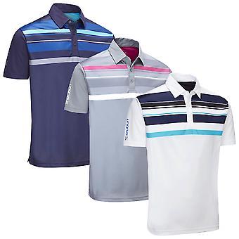 Stuburt Mens Endurance Block Stripe Golf Polo Shirt