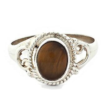 Ring 925 Silber mit Tigerauge 53 mm / Ø 16.9 mm (KLE-RI-009-18-(53))