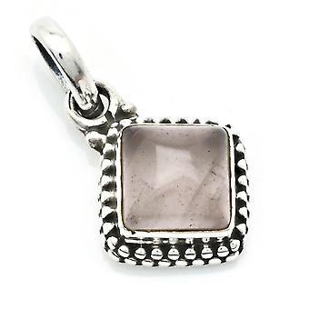 Amuleto de caneta de corrente prata 925 Sterling Silver Rose Quartz Pink Stone (Nr: MAH 148-07)