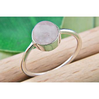 Ring Silver 925 Sterling Silver Rose Quartz Pink Stone (Nr: MRI 78)