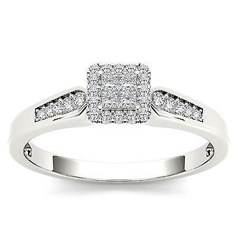 Igi certifierad 10k vitt guld 0,23 ct prinsessa cut diamant halo förlovningsring