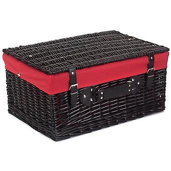 51cm prázdny čierny vŕba piknikový kôš s červenou podšívkou