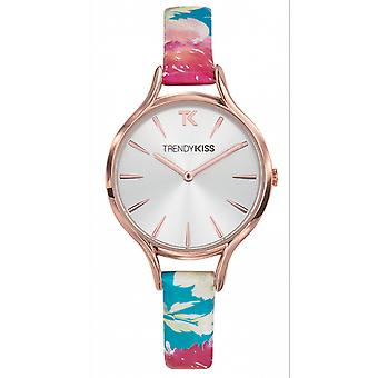 Watch Trendy Kiss TRG10102-03 - Bracelet leather printed Floral dial silver Sun woman