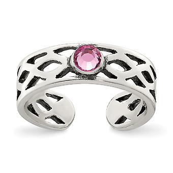 5mm 925 sterling sølv antiqued med rosa CZ cubic zirconia simulert diamant tå ring smykker gaver til kvinner