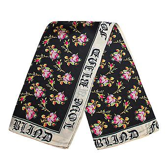 Scarf with rose motif - Black, No. 18