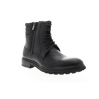 Zanzara Perugia  Mens Black Leather Zipper Casual Dress Boots Shoes