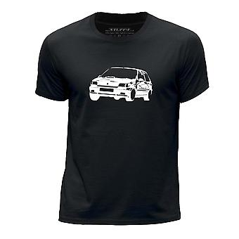 STUFF4 Boy's Round Neck T-Shirt/Stencil Car Art / Clio Williams/Black