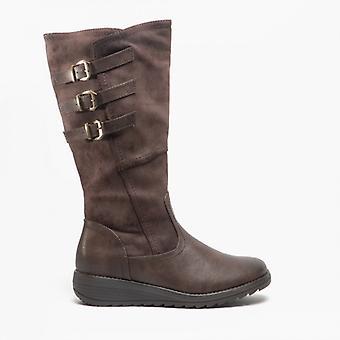 Cipriata Italania Ladies Triple Buckle High Leg Boot Brown