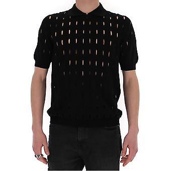 Fendi Fzc125abdbf0qa1 Men's Black Cotton Polo Shirt