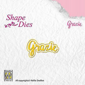 Nellie's Choice Shape Die - text Italian Grazi SD158