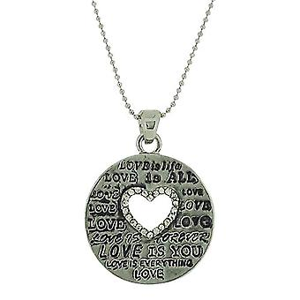 The Olivia Collection Love Sentiment Inset Glass Heart Pendant On Ball Chain