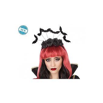 Haar Accessoires Halloween Diadem mit schwarzen Rosen und Fledermäuse