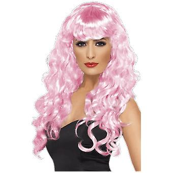 Womens Long Curly Pink Wig With Fringe Fairy Mermaid Fancy Dress
