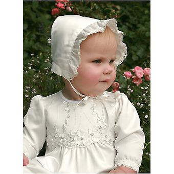 Christening Bonnet In Off White Satin,  Grace Of Swedens Design