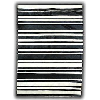 Rugs -Patchwork Leather Cowhide - ST7-50 Black & White Stripes