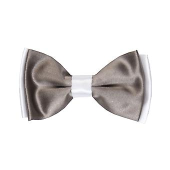 Boys Pre-tied Adjustable Neck Strap Kids Bowtie  In Beaver Brown and White