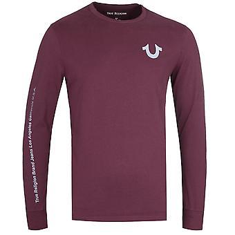 Wahre Religion Langarm reflektierende Detail Port rot T-Shirt
