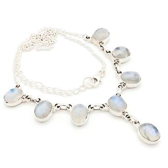 Moonstone Necklace 925 Silver Sterling Silver Chain Necklace White (MCO 05-04)