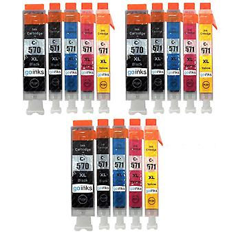 3 Set of 5 Ink Cartridges to replace Canon PGI-570 & CLI-571 Compatible/non-OEM from Go Inks (15 Inks)