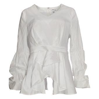 Masseys Women's Top Tier-Sleeved Blouse Bright White