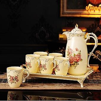 8 Piece Creative European Luxury Tea Set- Ivory Porcelain Ceramic Coffee Set With Red Rose Flower