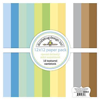 Doodlebug Design Special Delivery 12x12 Inch Textured Cardstock Paper Pack