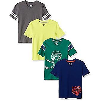 Brand - Spotted Zebra Boys' Little Kid 4-Pack Short-Sleeve V-Neck T-Sh...