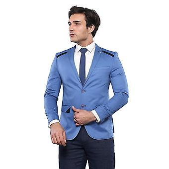 Shoulder detailed slim fit blue jacket