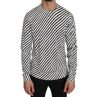 Dolce & Gabbana White Black Striped Silk Pullover  Sweater -- TSH3591152