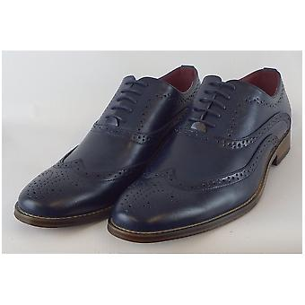 Goor Aegean Blue Pu 5 Eye Wing Capped Brogue Oxford Shoe Leather Quarter Lining & Sock Resin Sole