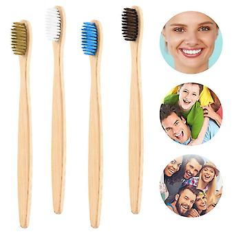 1pcs Natural Flat Bamboo Toothbrush With Bamboo Handle - Soft Bristle