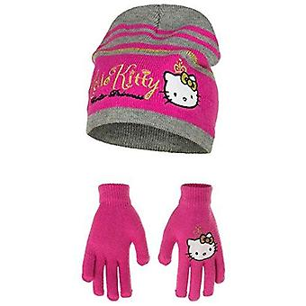 Hello kitty 2 pcs hat and gloves set one size 4 to 9 years