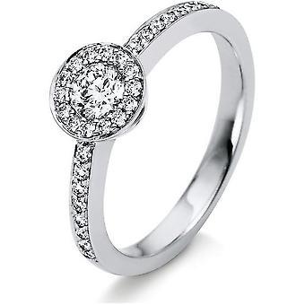خاتم الماس - 18K 750/- الذهب الأبيض - 0.5 قيراط. مقاس 54