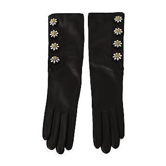 Dolce & Gabbana Black Lambskin Leather Crystal Elbow Gloves LB276- 7