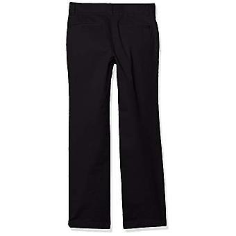 Essentials Boy's Straight Leg Flat Front Uniform Chino Pant, Black, 14(S)