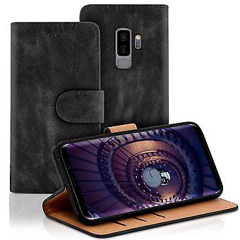 Vintage book case with card compartment for Samsung Galaxy S9+ / S9 Plus Leatherette Black