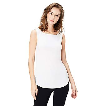 Daily Ritual Women's Jersey Bateau-Neck Tank Top, White, Medium