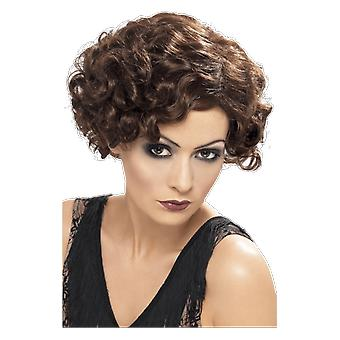 20s Flapper Girl Brown Wig Gatsby Chicago Musical Fancy Dress