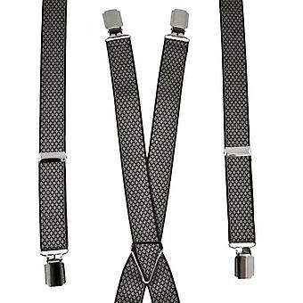 Cravatte Pianeta Nero & Grigio Diamante Modello Skinny Pantaloni Bracciale