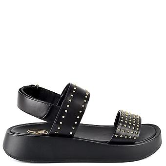 Ash VIVI Black Leather Sandals With Gold Studs